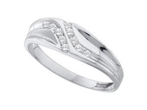 Saris and Things 10kt White Gold Mens Round Diamond Double Row Slender Wedding Band 1/8 Cttw