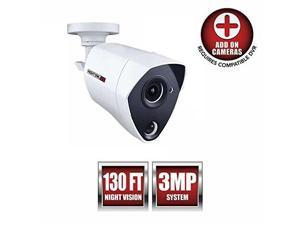 night owl security 1 pack extreme hd 3mp dual sensor wired infrared camera white, replacement camera only, no charger, no cable