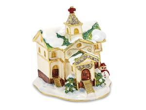 Bejeweled Winter Church Trinket Box with Charm Pendant