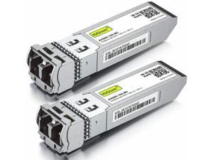 2-PACK 10GBase-SR SFP+ Transceiver, 10G 850nm MMF, up to 300 Meters, Compatible with Cisco SFP-10G-SR, Meraki MA-SFP-10GB-SR, Ubiquiti UF-MM-10G, Mikrotik, Netgear, D-Link and More.
