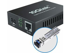 Gigabit Ethernet Media Converter, Singlemode Dual LC Fiber, 1.25Gb/s SFP Module to 10/100/1000Base-Tx Fiber Media Converter with a SFP 1000Base-LX Module(1310nm, 20km)
