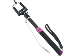 Selfie Stick, True Tech, with Wired Remote and Adjustable Phone Holder (Pink/Black)