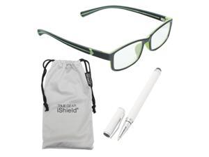 True Gear iShield Anti Reflective Reading Glasses - Men's Double Injection Frame (+2.50) - Black with Green