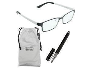True Gear iShield Anti Reflective Coated Reading Glasses - Rectangular Frame (+3.00) - Black/White