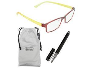 True Gear iShield Anti Reflective Coated Reading Glasses - Rectangular Frame (+3.00) - Red/Yellow