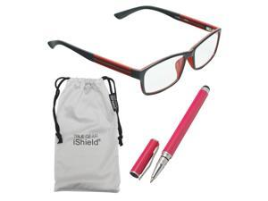 True Gear iShield Anti Reflective Reading Glasses - Double Injection Rectangular Frame (+3.00) - Black with Red