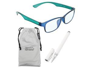 True Gear iShield Anti Reflective Coated Reading Glasses - Rectangular Frame (+1.75) - Blue/Green