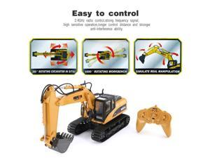 HUINA 1550 1/14 15CH 680 Degree Rotation Alloy Bucket RC Excavator Construction Vehicle Toy Gift with Cool Sound/Light Effect