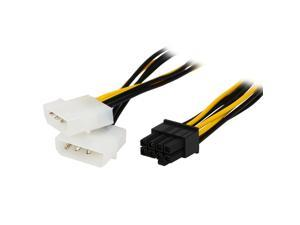 6 inch 2 x Molex 4 pin to 8-Pin PCI Express Video Card Pci-e ATX PSU Power Converter Cable - Molex to Pcie 8 pin (6+2) Adapter