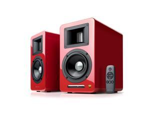 AirPulse A100 Hi-Res Audio Certified Active Speaker System Built-in Amplifier Optical, Coaxial, Bluetooth 4.1 aptX, RCA, AUX, and USB Inputs - Pair Red