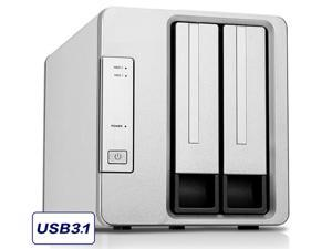 TERRAMASTER D2-310 USB Type C External Hard Drive RAID Enclosure USB3.0 (5Gbps) 2-Bay RAID Storage Support RAID 0/1/Single (Diskless)