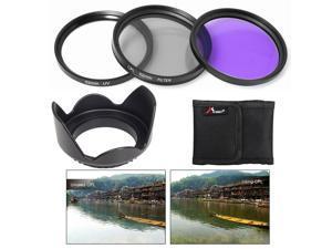 52mm UV CPL FLD Filter + Lens Hood for ...