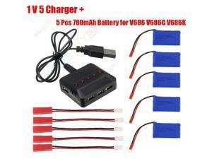 5in1 Balance Charger +5x 780mAh Battery Kit For JJRC V686 V686K V686G Quadcopter Drone