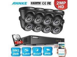ANNKE 8CH Security Camera System HD-TVI 1080P Lite H.264+ DVR with 8×1080P HD Indoor/Outdoor Weatherproof CCTV Cameras, Motion Alert, Remote Access with 1TB HDD