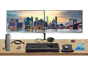 "HP Home Office Bundle with 2 x E223 21.5"" Monitors (HDMI, DisplayPort) - HP USB-C Dock - Dual Monitor Stand - Wireless Keyboard and Mouse, Gel Wrist Pad - Surge Protector - 32GB USB Drive and More"