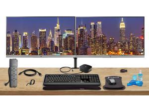 "HP Home Office Bundle with 2 x E243 23.8"" Monitors (HDMI, DisplayPort) - HP USB-C Dock - Dual Monitor Stand - Wireless Keyboard and Mouse, Gel Wrist Pad - Surge Protector - 32GB USB Drive and More"