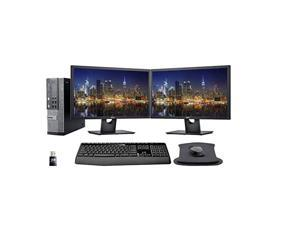 Dell Optiplex 7010 Desktop Business PC Bundle with i7-3770, 16GB DDR3, 1TB SSD, Windows 10 Pro, 2 x 24 inch Monitors with Monitor Stand, WiFi, Wireless Keyboard and Mouse, Gel Mousepad
