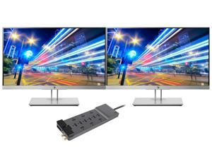 """HP EliteDisplay E233 23"""" Full HD Screen LED 2-Pack Display Bundle with 12-Outlet Professional SurgeMaster"""