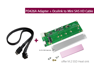 Innocard Oculink (SFf-8612) to M.2 NVMe SSD Adapter with Oculink (SFF-8611) to Mini SAS HD (SFF-8643) Cable