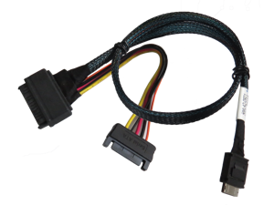 20 Inches OCuLink SFF-8611 Male Plug to Straight Angled Male Cable Assembly
