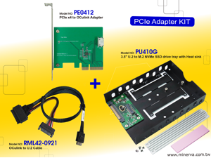 """Innocard PCIe Gen 3 / 4-Lane to Oculink (SFF-8612) Adapter with U.2 to Oculink Cable & 3.5"""" U.2 (SFF-8639) to M.2 NVMe SSD Adapter"""