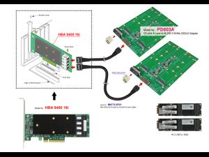 OCulink 8x (SFF-8612 8-Lane) to M.3 NF1 SSD for Tri-Mode HBA 9400-16i