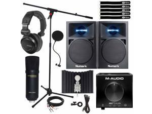 """Home Recording 3"""" Monitor Speakers w USB Audio Interface & Condenser Microphone"""