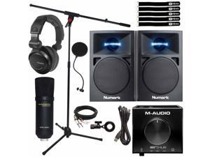 Podcast Vocal Recording Pack Monitor Speakers w USB Interface & Condenser Mic