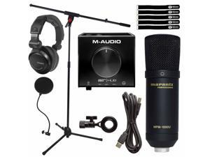 Home Audio Podcast Vocal USB Condenser Microphone w Audio Recording Interface