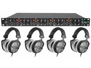 (4) Beyerdynamic DT-990-PRO-250 Studio Tracking Headphones+Mackie Headphone Amp