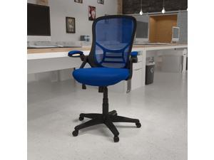 Flash Furniture High Back Blue Mesh Ergonomic Swivel Office Chair with Black Frame and Flip-up Arms