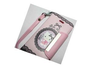 Iphone Se 2016 & 5S - Hello Kitty Leather Wallet Flip Pouch Case Cover Pink Love