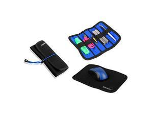 Portable Travel Mouse Pad Organizer 2 in 1 Combo Case (Black)