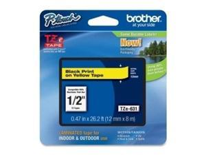 """Brother TZE631 P-Touch 1/2"""" Black on Yellow Laminated Label Tape TZ-631"""