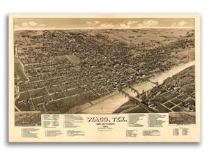 16x24 Clarendon Texas 1890 Historic Panoramic Town Map