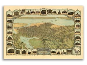 San Jose California 1901 Historic Panoramic Town Map Art 16x24