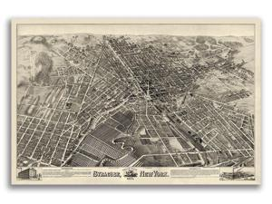 Bird/'s Eye View 1884 Glens Falls New York Vintage City Map 16x24