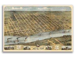 20x30 Port Townsend Washington 1878 Historic Panoramic Town Map