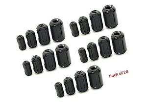 AUCH 20Pcs Clip-on Ferrite Ring Core Black RFI EMI Noise Suppressor Cable Cli...