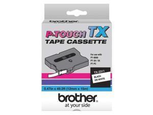 "BROTHER TX2311 Adhesive Label Tape Cartridge 0.47"" x 50 ft., Black/White"