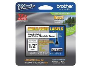"Adhesive TZ Tape (R) Cartridge 0.47""x26ft., Black/White BROTHER TZEFX231"