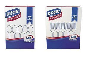 VALUE PACK: Dixie Plastic Tableware, 100 Teaspoons,  100 Forks (200 Pieces)