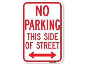 No Parking This Side of Street Sign (with Double Arrow)