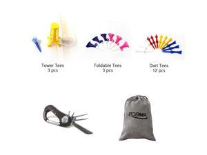 Posma GTS037 Multi Series Tee bundle set with 3pcs Tower Tee + 3pcs Foldable Tee + 12pcs Dart Tee + 5 In 1 Golf Multi Function All In One Golfers Tool + Flannel Storage Bag