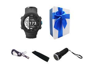 Posma GB3 Golf Triathlon Multi Sport GPS Watch Range Finder Delux Gift Set with Divtot Tool Golf Towel and UV Ball Finder Torch  Included Gift Box, Preloaded Europe, America, Asia, Europe, etc