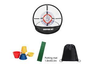 Posma CN010F Portable Golf Chipping Putting Trainer Bundle kit gift set with Hitting Net + 1.8mX0.3m putting mat + Winter Tee + Black Cinch Sack Carry Bag-golf chipping putting training Aid