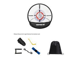 Posma CN010E Portable Golf Chipping Hitting Swing Trainer Bundle Kit Gift set with 1pc Hitting Net + 5pcs Elbow Brace Arm Leg Posture Correctors set+ 1pc Black Cinch Sack Carry Bag- Golf training aid