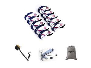 Posma CC040F Golf Plastic Iron Club Head Cover - Set of 10 bundle set with  6 In 1 Golf Multi Function All In One Golfers Tool + 1pc groove double-side brush + 1pc flannel storage bag