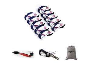 Posma CC040H Golf Plastic Iron Club Head Cover - Set of 10 bundle set with 1pc 5 In 1 Golf Multi Function All In One Golfers Tool + 1pc groove double-side brush + 1pc flannel storage bag