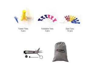 Posma GTS017 Multi Series Tee bundle set with 3pcs Tower Tee + 3pcs Foldable Tee + 12pcs Dart Tee + 6 In 1 Golf Multi Function All In One Golfers Tool + Flannel Storage Bag